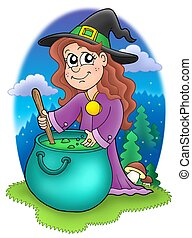 Cute witch with kettle - color illustration