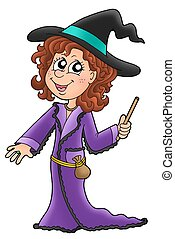 Cute witch with wand - color illustration