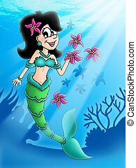 Dark hair mermaid with flowers - color illustration.