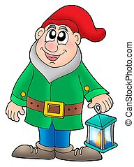 Dwarf with lantern - color illustration.