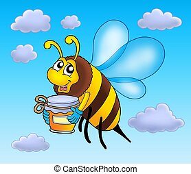 Flying bee holding honey - color illustration.
