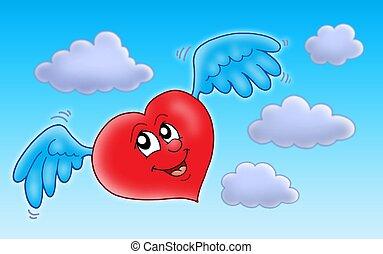 Błękitny, serce, przelotny, niebo