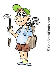 Golfist on white background - color illustration