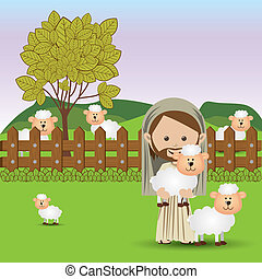 jesuschrist design over landscape background vector...