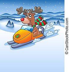 Christmas reindeer in snowy landscape - color illustration.