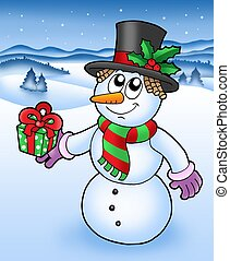 Christmas snowman in snowy landscape - vector illustration.
