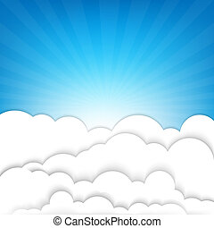 Clouds With Sky And Sunburst, With Gradient Mesh, Vector...