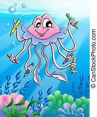 Jellyfish with crayons and bubbles - color illustration.