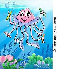 medusa, creions, Bolhas