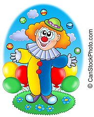 Juggling cartoon clown with balloons - color illustration.