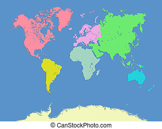 World and continents map - Computer graphic of World and...