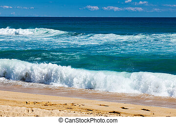 waves on sand beach - sea waves on sand beach at...
