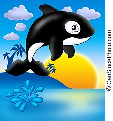 Killer whale with sunset - color illustration.