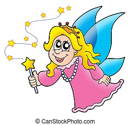 Little fairy with magic wand - color illustration.
