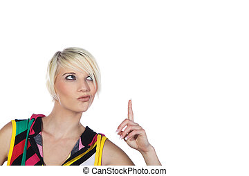 woman pointing on blank area