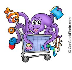 Octopus and shopping cart - color illustration
