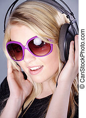 woman listening music and having fun