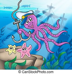 Octopus with anchor and starfishes