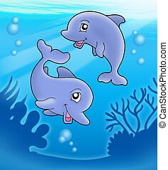 Pair of cute playing dolphins - color illustration.