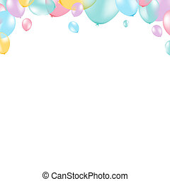 Pastel Balloon Frame, With Gradient Mesh, Vector...