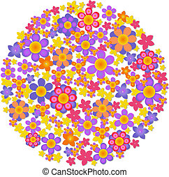 Sphere From Flowers, Vector Illustration