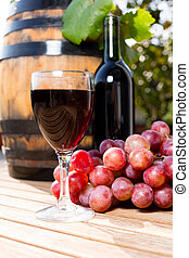 Wine grapes - Black wine glass with freshly harvested grapes