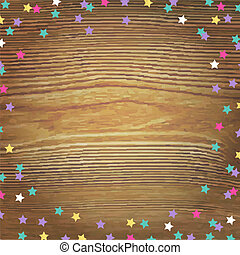 Wooden Background With Color Stars