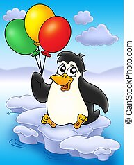 Penguin with balloons on iceberg - color illustration
