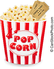 Popcorn In Cardboard Box With Tickets Cinema With Gradient...
