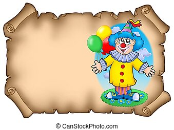 Party invitation with clown - color illustration.