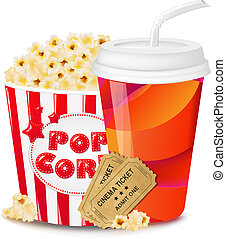 Popcorn In Cardboard Box With Tickets Cinema And Paper Glass...