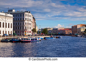 Petersburg. Fontanka River in summer day - View of St....