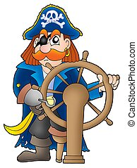 Pirate captain on white background - color illustration