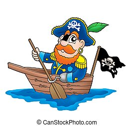 Pirate in the boat - color illustration.