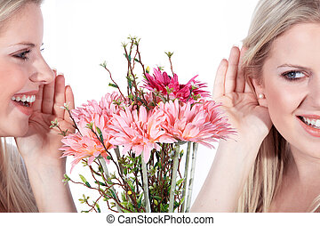 woman says it with flowers