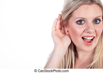 woman listens attentively