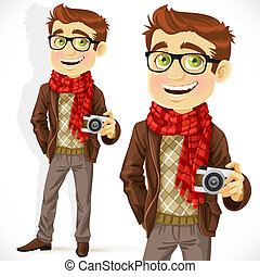Hipster guy wearing a scarf and with a camera isolated on...