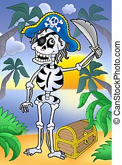 Pirate skeleton with sabre and treasure chest