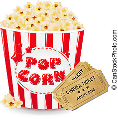 Popcorn In Cardboard Box With Ticket Cinema With Gradient...