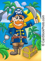 Pirate with sabre and treasure chest