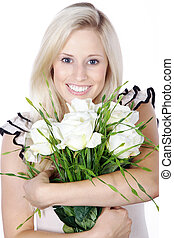 pretty woman with bouquet