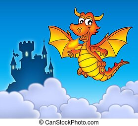 Red dragon with castle - color illustration.