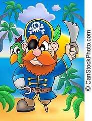 Red hair pirate with parrot - color illustration.