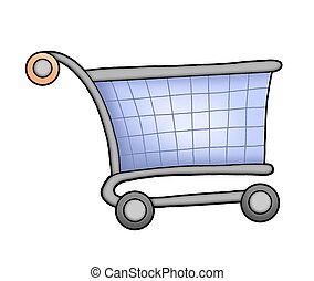 Shopping cart - Blue shopping cart - color illustration.