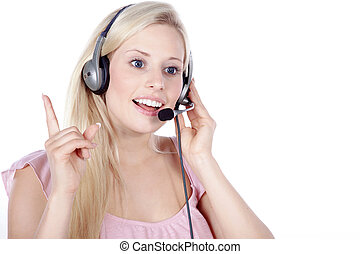 call center woman with headset speaks