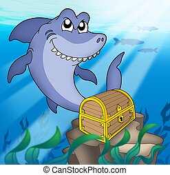 Shark with treasure chest - Shark with tresure chest - color...