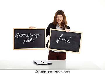 young woman with two blackboard