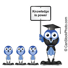 Knowledge message sign with bird teacher and Pupils isolated...