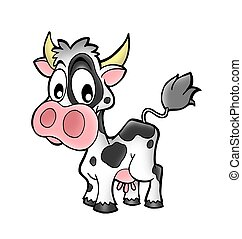 Small cow - Small caw on white background - color...