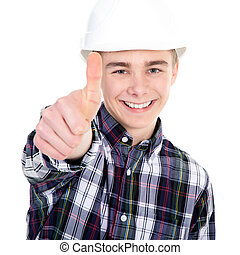 young construction worker holding thumbs up